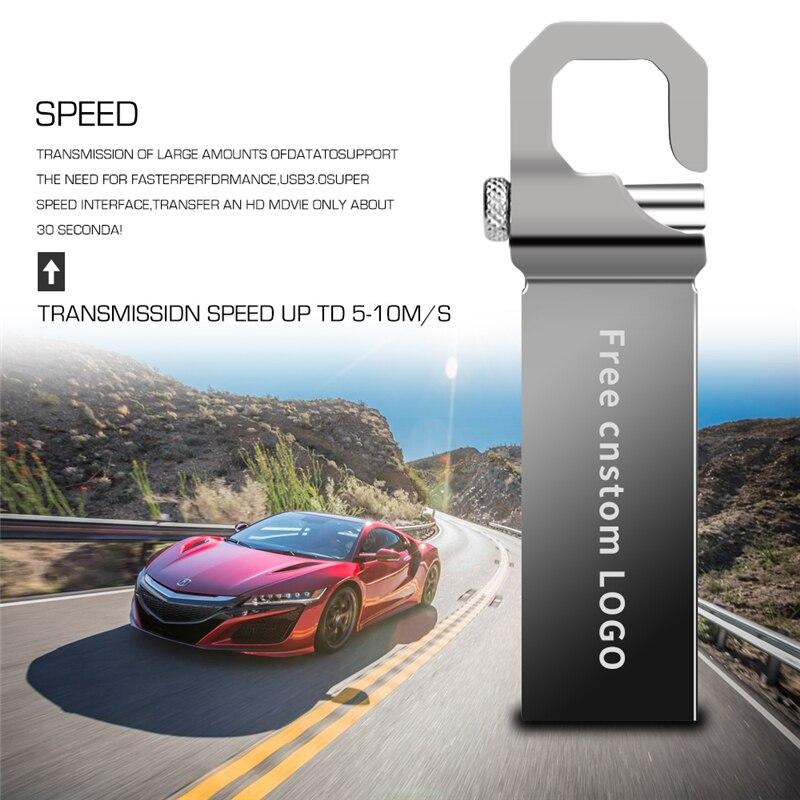 Pen Drive USB 3.0 Gray Metal USB Flash Drive 32GB 64GB Usb Stick 128GB 16GB 8GB 4GB Waterproof Pendrive Free Print LOGO U Disk