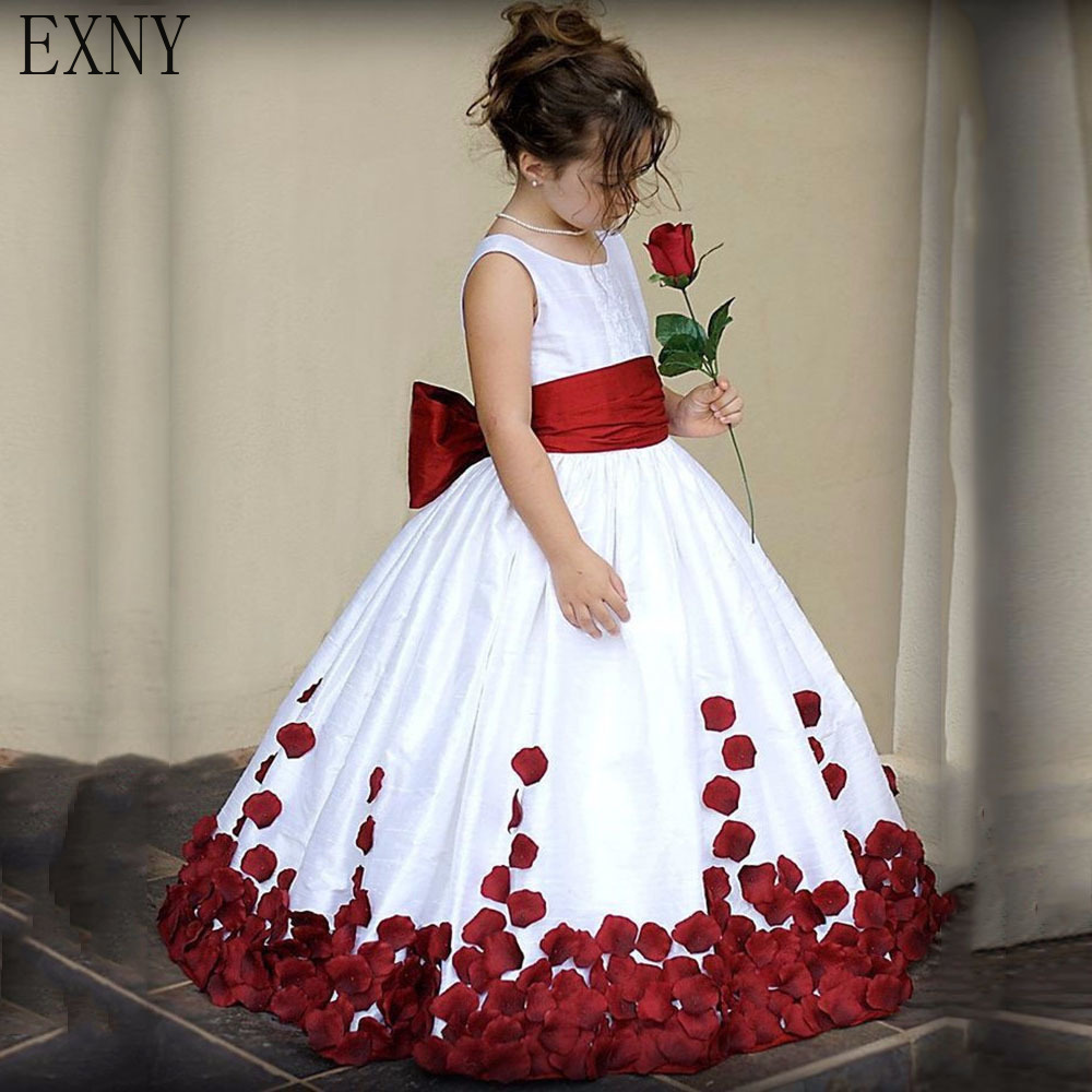 EXNY Cute   Flower     Girl     Dress   Appliques Elegant Pageant for Wedding Party   Dresses   with Burgundy Bow sash