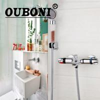 OUBONI Wall Mounted Thermostatic Mixer Taps Chrome Brass Torneira Bathtub Sink Basin Faucet Set Exposed Shower
