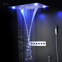 Big shower 600*800mm led shower head set with rainfall,waterfall,mist fall and water curtain functions head shower sets