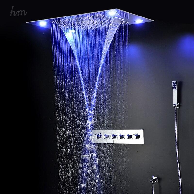 Grande douche 600*800mm led pomme de douche ensemble avec pluie, cascade, brouillard chute et rideau d'eau fonctions tête douche ensembles