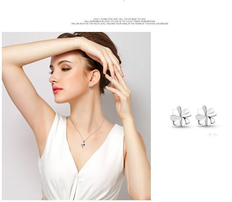 Fashion 925 Sterling Silver Jewelry Delicate Clover Design Stud Ear Rings Women Anti-allergic Ear Jacket Piercing Earing