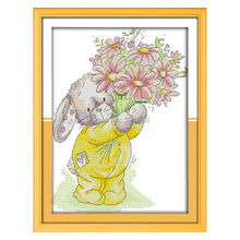 Wholesale Needlework,Stitch,11CT 14CT Cross Stitch,Sets For Embroidery Kits,Rabbit Present a Bouquet (2) Counted Cross-Stitching