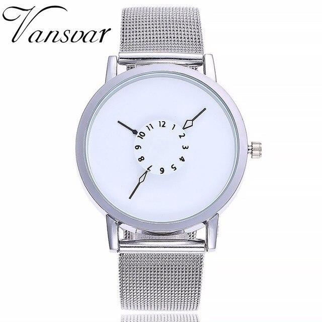 Vansvar Brand Women Fashion Stainless Steel Strap Analog Quartz Wristwatches Lux