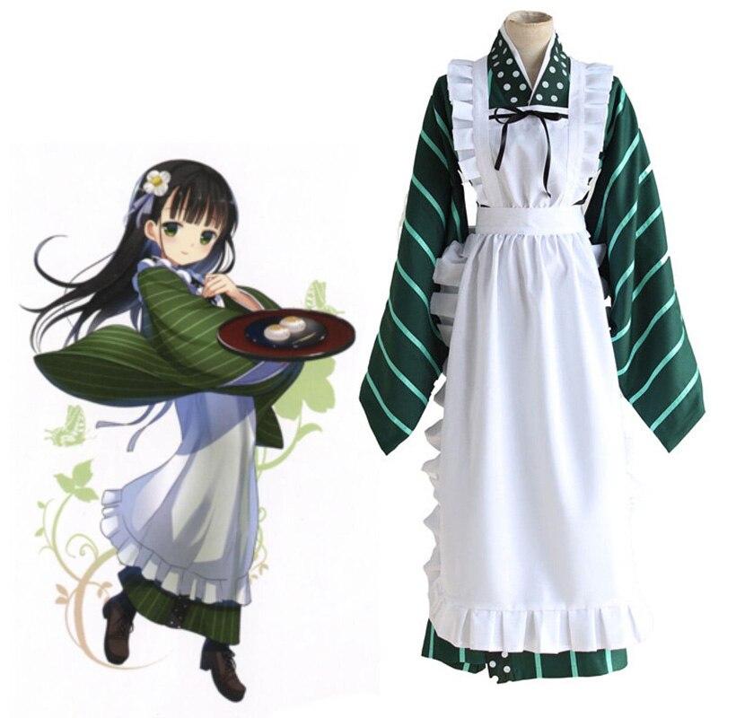 Anime Is the Order a Rabbit? Cosplay Costumes Ujimatsu Chiya Full Set Uniform ( Kimono + Apron + Headwear ) Halloween Costume