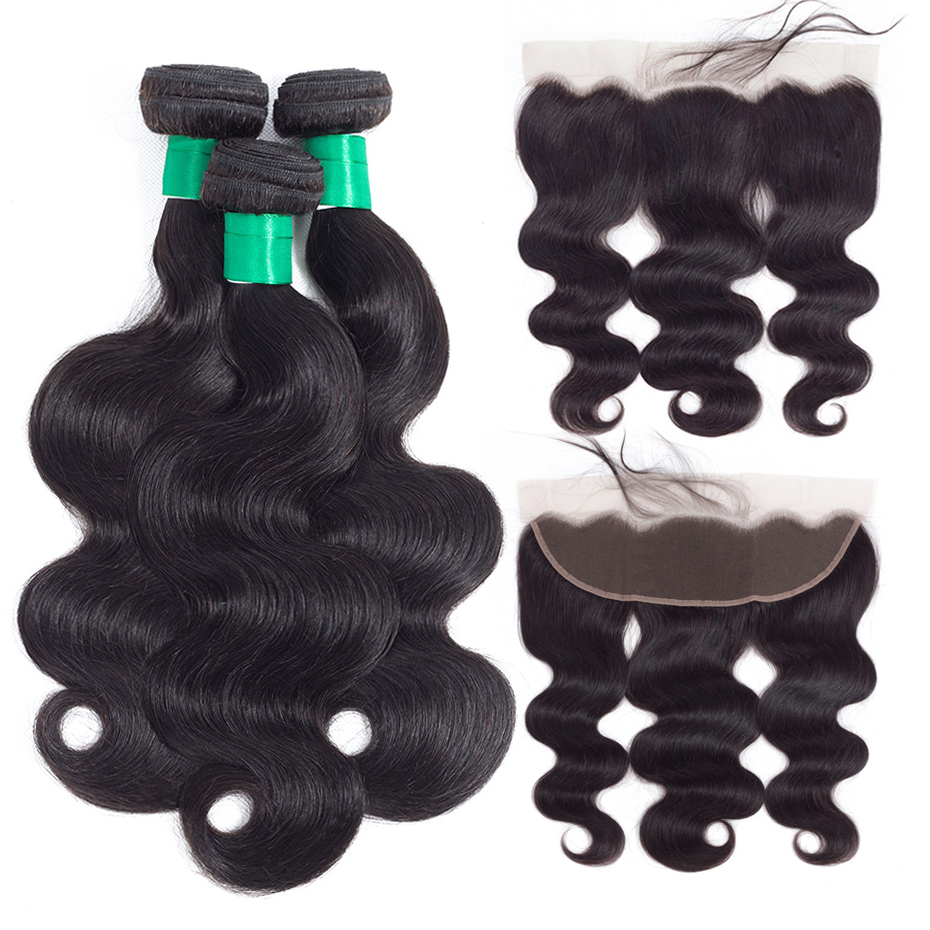 Gabrielle Remy Hair Brazilian Body Wave Bundles with Frontal Closure Pre plucked Hairline 100 Human Hair