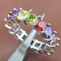 Fashion New Multicolor Cubic Zirconia  Silver For Women Jewelry Rings Free Shipping Size 6 7 8 9 SA028