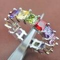 Moda de Nova Multicolor Cubic Zirconia Jóias Anéis de Prata Para As Mulheres Frete Grátis Tamanho 6 7 8 9 SA028