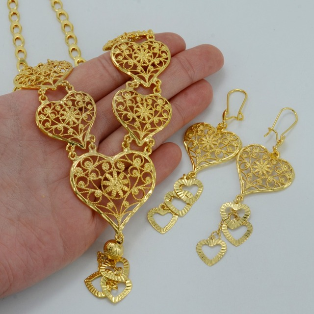 57CM Arab Heart Necklace Earrings Dubai Jewelry sets Gold Plated Middle East Jewellery Egypt/Turkey/Iraq/African/Nigeria #010312