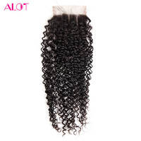Alot Hair Three Part Lace Closure 130 Density Peruvian Kinky Curly Light Brown Lace Color Non