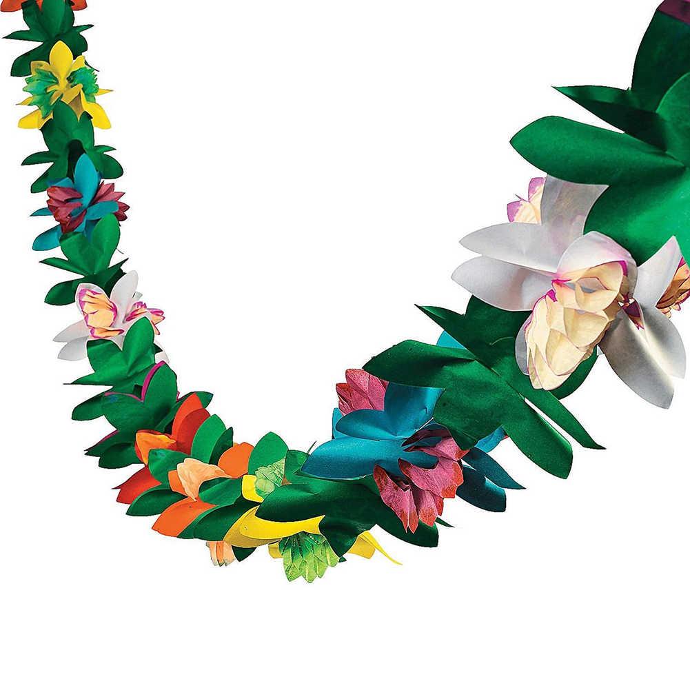 3M Hawaii Festival colorido tejido flor guirnalda bandera hojas de coco banderines guirnalda decoración hawaiana fiesta suministros al por mayor