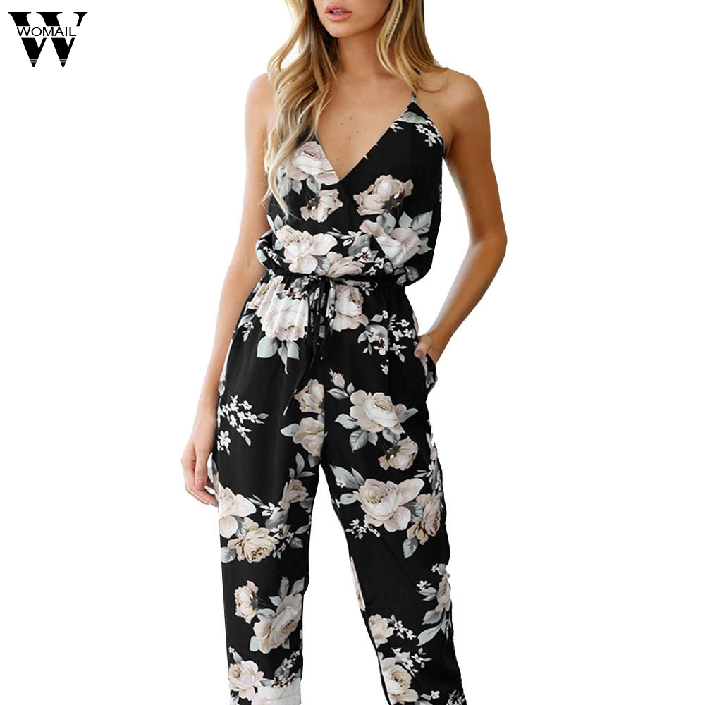 Womail Bodysuit Women Summer Fashion Casual Sleeveless V-Neck Floral Printed Playsuit Party Trousers Jumpsuit S-XXXL Dropship M6