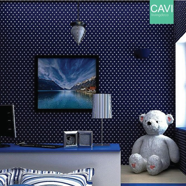 Kids bedroom wallpaper blue color round white dots mediterranean kids bedroom wallpaper blue color round white dots mediterranean style lovely deco for bedroom kids thecheapjerseys Image collections
