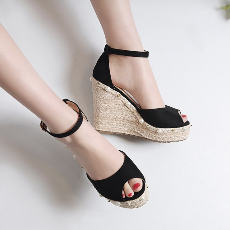 Womens Peep Toe Wedge Sandals Shoes Elevated Wedge Espadrille Classic Espadrille Wedge Sandals Summer Parties Shoes in High Heels from Shoes