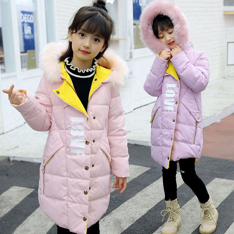 2017 fashion girls Winter coat Children's duck down jacket for girl clothes Warm Outerwear Coats fur long model jackets parka 2016 winter jacket girls down coat child down jackets girl duck down long flower hooded loose coats children outwear overcaot