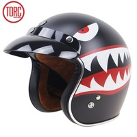 Free shipping 1pcs TORC New Vintage Open Face 3/4 Motorbike Unique Vespa Harley Hand Painted Shark Teeth Motorcycle Helmet