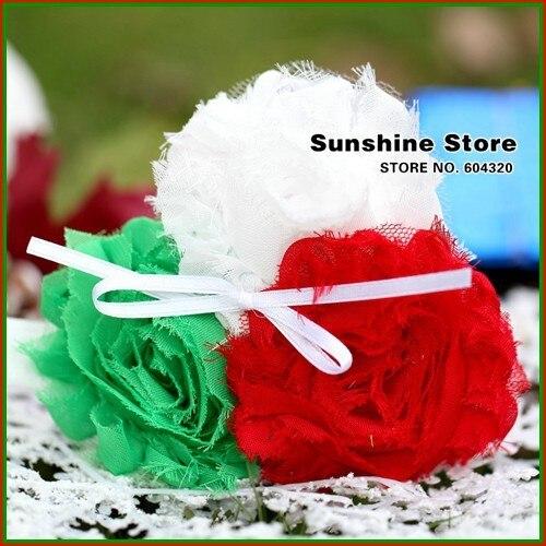 Sunshine store #2B2286  10 pcs/lot(green red white)baby headband girls shabby rosset bow flower headband Christmas headwear CPAM