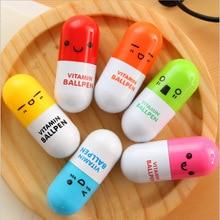 DIY Cute Kawaii Creative Pill Ballpoint Pen Telescopic Ball Point Pen Office School Supplies Korean Stationery Free shipping 422