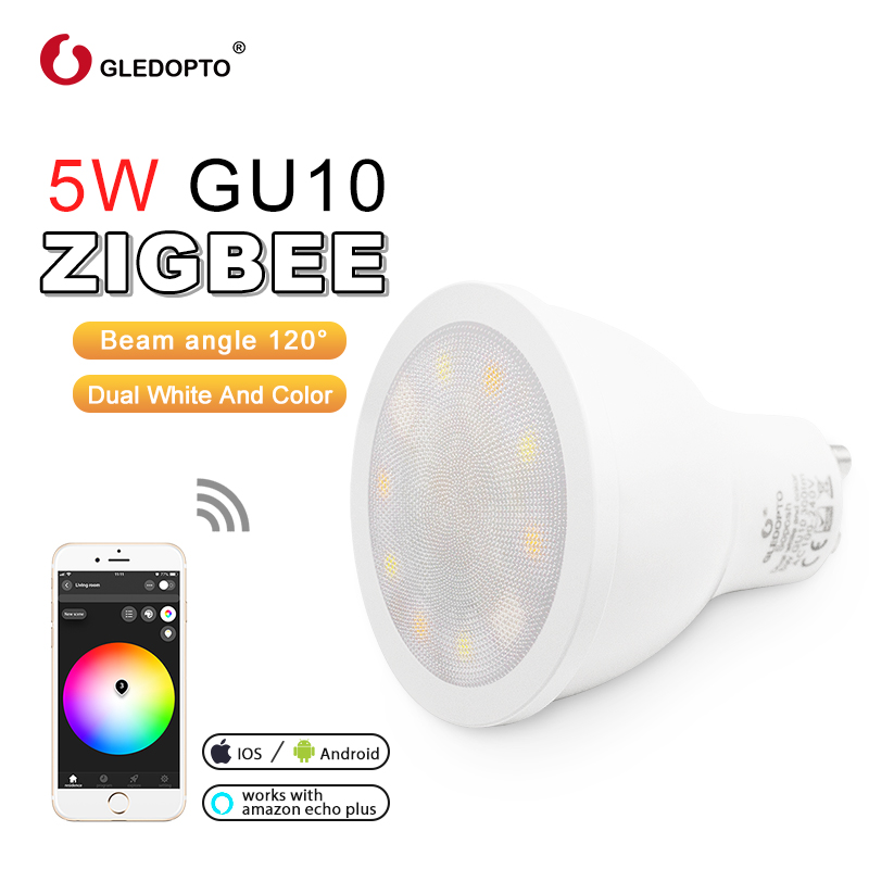 GLEDOPTO factory ZIGBEE ZLL 5W RGBWW/CW GU10 LED RGB+dual white  spotlight AC100-240V work with amazon echo plus and 3.0