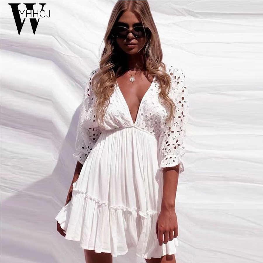 WYHHCJ 2019sexy col en v évider blanc plage robe d'été femmes manches chauve-souris dentelle mini robes robes de fête mode 2019
