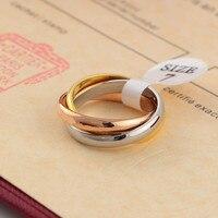 С логотипом 316L Титан стали вечная 3 Разноцветные Кольца для мужчин и женщин свадебные Картер любовь кольцо наивысшего качества