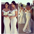 Новый Милая Кружева Cap Рукава Sexy Невесты Платья Длинные 2017 Сшитое Vestido Madrinha Русалка Robe красавка почетного легиона