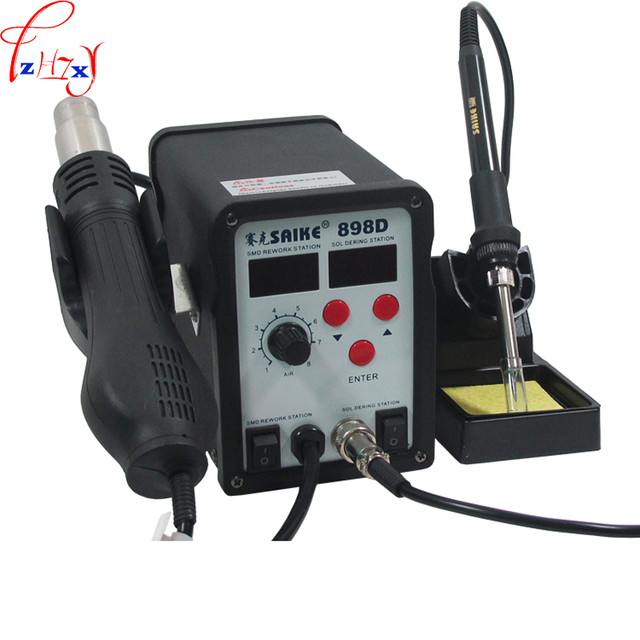 1pc 220/110V  SAIKE 898D 2 in 1 Soldering Station Hot Air Gun+welding Iron