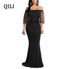 QILI Women Beading Mesh Mermaid Dress Sexy Slash Neck Strap Black Dresses Evening Party Wear Womens Plus Size Maxi Long