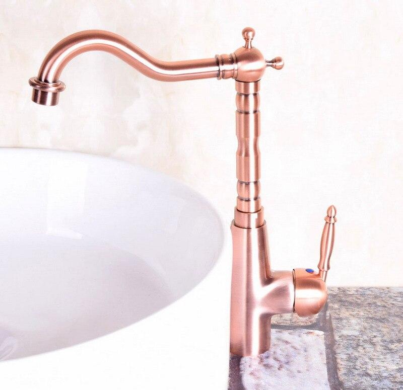Vintage Red Copper Antique Brass Single Handle Swivel Spout Bathroom Basin Kitchen Sink Faucet Cold & Hot Mixer Tap Anf129