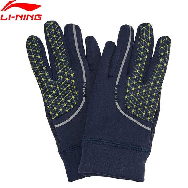 Li-Ning мужские перчатки для бега сенсорный экран 95% полиэстер 5% спандекс Светоотражающая подкладка зимние теплые спортивные перчатки ASGN007 PSB054