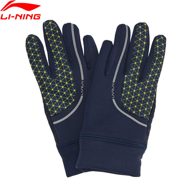 Li-Ning Men Running Gloves Touch Screen 95% Polyester 5% Spandex Reflective LiNing Winter Warm Sports Gloves ASGN007 PSB054