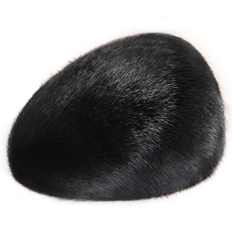ZDFURS men mink fur hat New Fashion Men's Real Mink Fur Cap Winter Warm Top Hat Headgear Beanie Beret warm winter fashion men hat