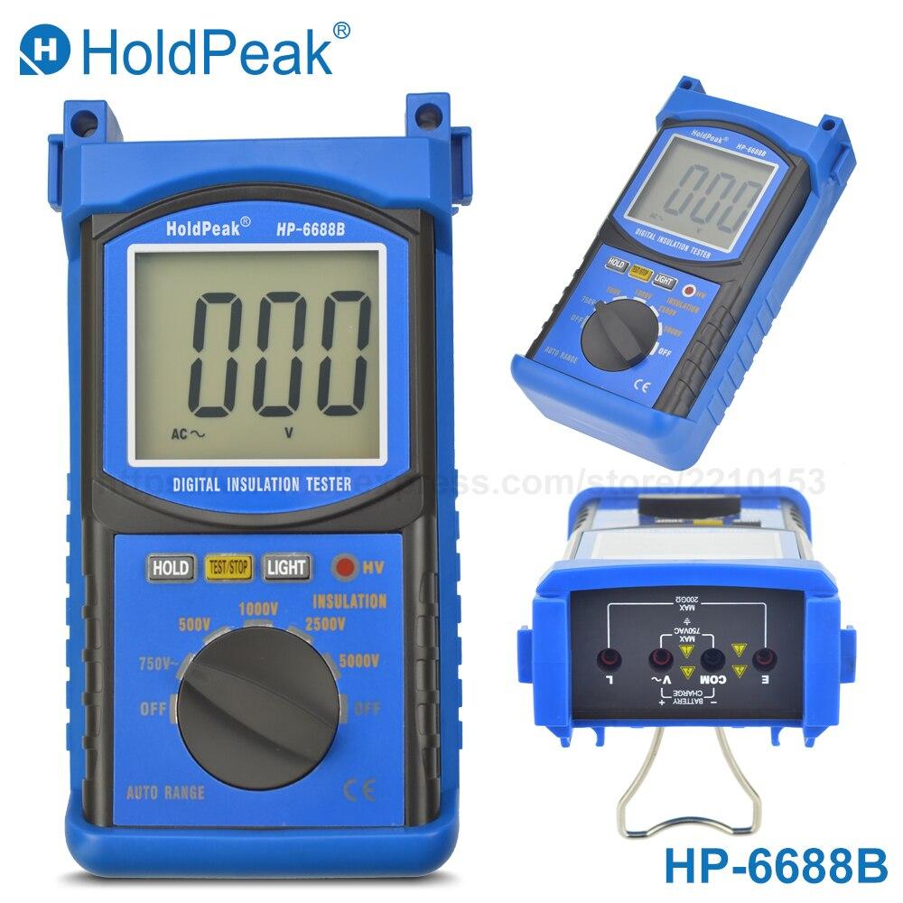HoldPeak 6688B digital Megohmmeter Insulation Resistance Tester Electrical Resistance Meter 200G ohm 500V 1000V 2500V 5000V