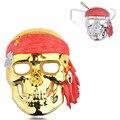 Nova Galvanoplastia Horror Empate Pirata Skull Face Máscara Fantasma para o Dia Das Bruxas Máscara Do Partido Cosplay-Ouro, prata