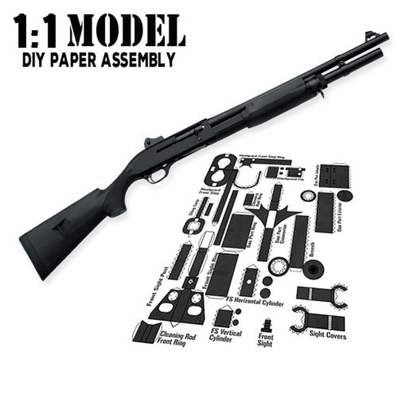 1:1 M3 Toy Gun Model Paper Assembled Educational Toy Building Construction Toys Card Model Building Sets