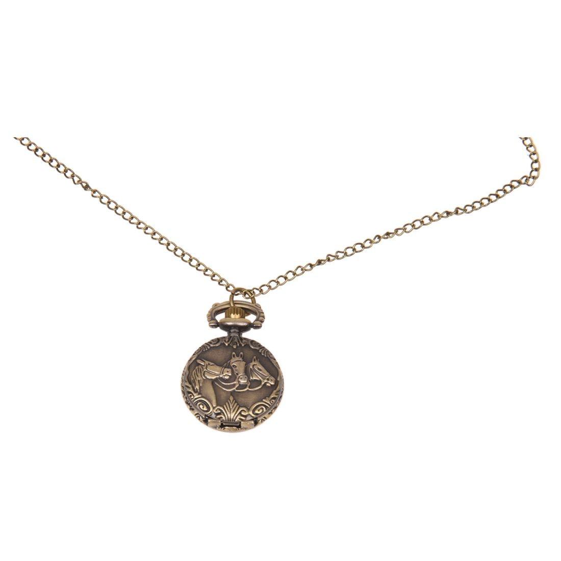 Оптовая продажа бронзовые 3 лошади гравировка кварцевые карманные часы ожерелье 50psc/лот