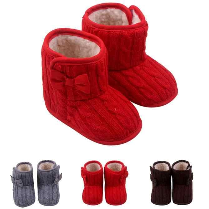 Новинка; обувь с плюшевой подкладкой для маленьких детей; модные детские зимние ботинки для маленьких мальчиков и девочек, мягкая подошва, с бантом; зимняя теплая обувь;