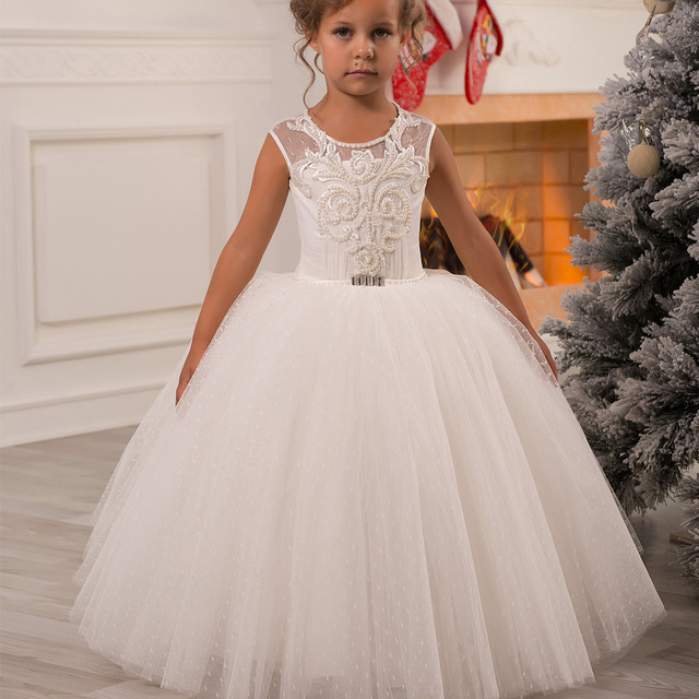 Здесь продается  White Flower Girl Dress Kids Ball Gowns First Communion Dresses Pageant Girls Glitz Scoop Sleeveless Bead Tulle Girl Dresses  Детские товары