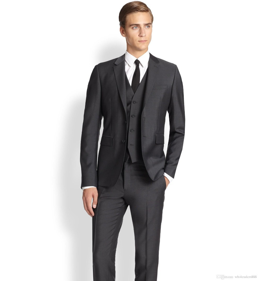 New Arrival Groom Tuxedos Notch Lapel Men's Suit Charcoal Gray ...