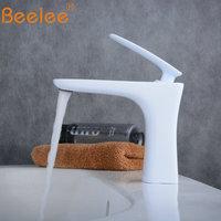 Beelee Bathroom Taps Mixer White Faucet Top Sink Tap Mono Basin Mixer Faucet Cloakroom Faucets BL6609W