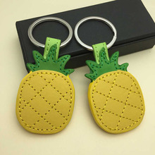 RE cute pineapple keychain for women leather tassel key holder metal bag charm auto pendant gift accessories J35