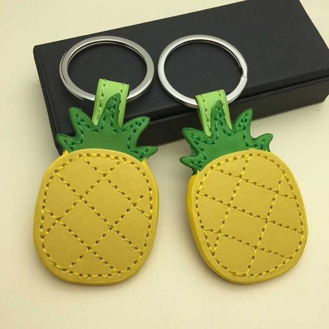 RE cute pineapple keychain for women leather tassel key holder metal keychain bag charm auto pendant gift key accessories J35