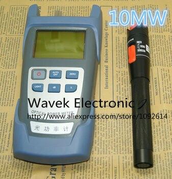 2 en 1 FTTH fibra óptica Kit de herramienta de fibra óptica medidor de potencia-70 + 10dBm y 10 km 10 MW de fibra óptica, localizador Visual de fallos pluma prueba