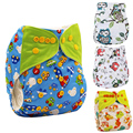 Reusable Baby Cloth Diapers Nappy Cover Pockets One Size Cartoon Print Washable Cloth Diapers Adjustable Couches Lavables
