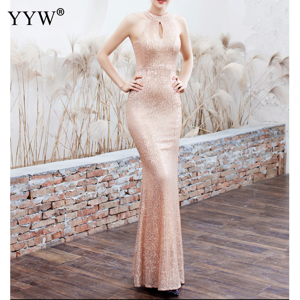 Elegant Sequined Halter Sleeveless Mermaid Long Evening Dress 5