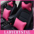 Ladycrystal High Quality PU Leather Car Pillows Seat Supports Rose Pink Car Neck Headrest Hold Pillow For All Car