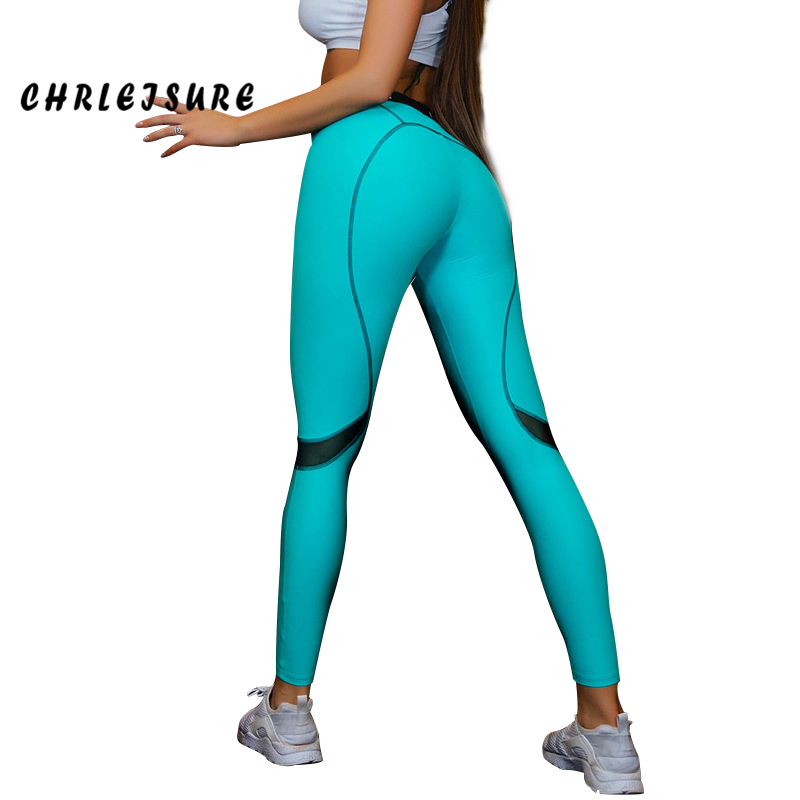CHRLEISURE Blue Woman Fashion Leggings Mid Waist line Knitted Polyester Ankle-Length Push Up Slim Breathable Leggings Wome