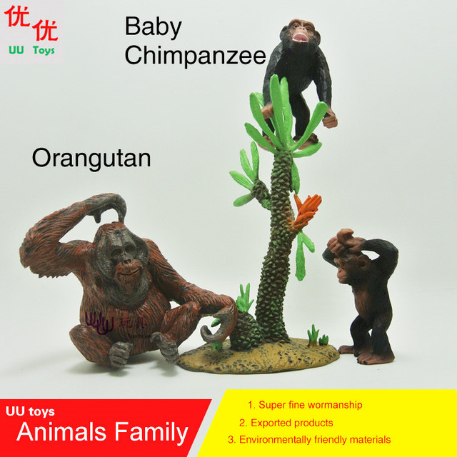US $15 8 |Action Figures:Baby Chimpanzee and Orangutan family pack  Simulation model Animals kids toys children educational props-in Action &  Toy