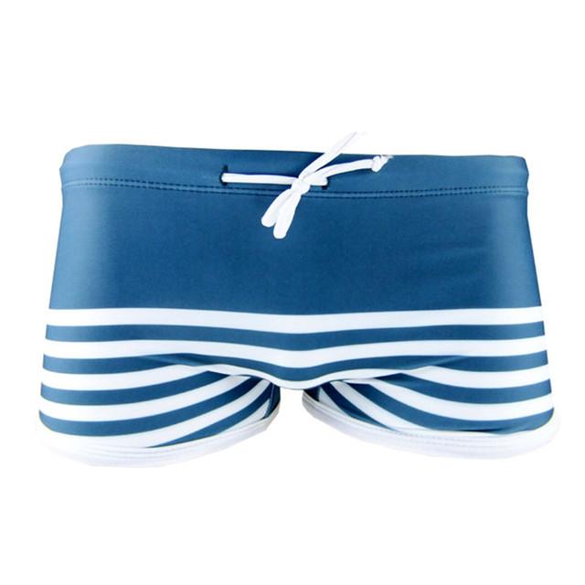 Funfeliz Men Swimwear 2018 Brand New Spandex Striped Swimming Trunk for Men Teenage Boy Swimming Shorts Swimsuit Boy Beachwear