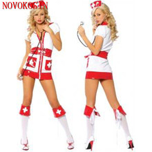 цена на XB1 2018 White With Red Ribbon Nurse Erotic Costumes Maid Role Play Women Erotic Lingerie Sexy Games Cosplay Uniform With Hat